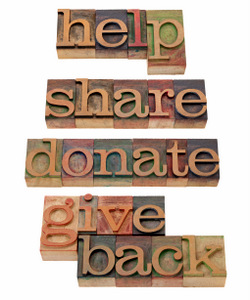 HELP, SHARE, DONATE IN LETTERPRESS TYPE © Marek Uliasz | Dreamstime.com
